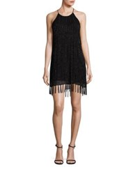 Joie Sanibel Beaded Fringe Hem Dress Caviar