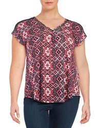 Lucky Brand Plus Printed Crochet Trimmed Top Red Multi