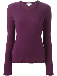 James Perse Longsleeve T Shirt Pink And Purple