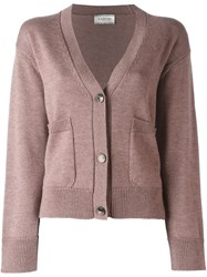 Lanvin Front Cropped Cardigan Pink And Purple