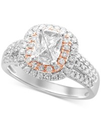 Macy's Diamond Two Tone Engagement Ring 1 Ct. T.W. In 14K White And Rose Gold Two Tone