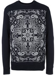 White Mountaineering Paisley Print Sweatshirt Blue