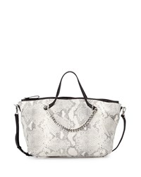 Snake Embossed Two Tone Satchel Bag White Halston Heritage