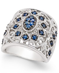 Macy's Sapphire 5 8 Ct. T.W. And Diamond 1 7 Ct. T.W. Openwork Ring In Sterling Silver Blue