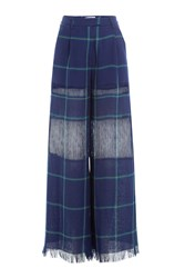 Msgm Wide Leg Linen Pants Blue
