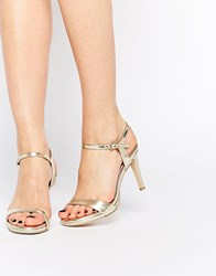 Faith Libertine Gold Mid Heel Barely There Sandals
