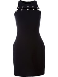 Versus Lion Head Pin Fitted Dress Black