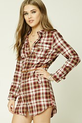 Forever 21 Belted Plaid Shirt Dress