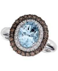 Le Vian Chocolatier Aquamarine 1 3 8 Ct. T.W. And Diamond 1 2 Ct. T.W. Ring In 14K White Gold Blue