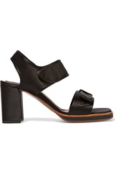 Marni Bow Embellished Satin And Leather Sandals Black