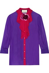 Gucci Two Tone Silk Georgette Shirt