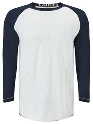 Champion Todd Snyder Long Sleeve Baseball Raglan T Shirt White Navy