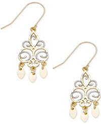 Macy's Filigree Dangling Drop Earrings In 10K White Rose And Yellow Gold