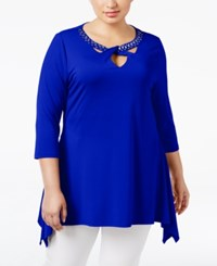 Belldini Plus Size Rhinestone Handkerchief Hem Top Royal Blue