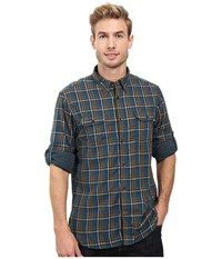 Timberland Double Layer Plaid Shirt Reflecting Pond Yarn Dye Men's Clothing Gray