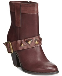 Dolce By Mojo Moxy Blackjack Studded Strap Booties Women's Shoes Bordeaux