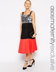 Asos Maternity Scuba Skater Dress With Mono Floral Print Top And Colourblock Skirt Multi