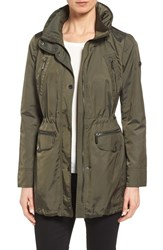 Michael Michael Kors Petite Women's Detachable Hood Stand Collar Jacket Army Green