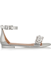 Givenchy Metallic Leather Sandals With Crystals