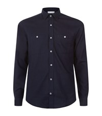 Gieves And Hawkes Twill Shirt Male Navy