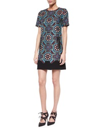 Andrew Gn Floral Mosaic Short Sleeve Shift Dress