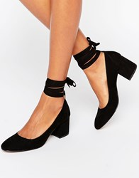 London Rebel Tie Ankle Mid Heel Shoe Black Micro