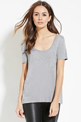 Forever 21 Contemporary Raw Cut Pocket Tee Heather Grey