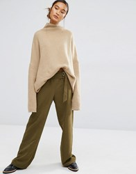 First And I Paperbag Waist Trouser Dark Olive Green