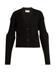 Muveil Ribbed Knit Wool Cardigan Black