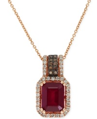 Effy Collection Red Velvet By Effy Ruby 3 1 4 Ct. T.W. And Diamond 3 8 Ct. T.W. Pendant Necklace In 14K Rose Gold