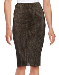 Design Lab Lord And Taylor Ribbed Glitter Sheath Skirt Gold