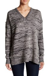 Sweet Romeo Oversized V Neck Pullover Sweater Gray