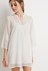 Forever 21 Embroidered Chiffon Peasant Tunic Cream