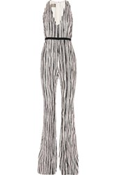 Giambattista Valli Silk And Cotton Blend Jacquard Jumpsuit Pastel Pink