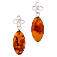 Be Jewelled Sterling Silver Bow Amber Drop Earrings Cognac