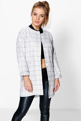 Petite Evie Grid Check Cocoon Duster Grey