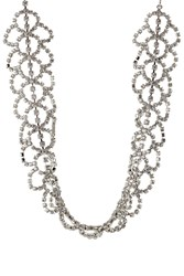 Kenneth Jay Lane Woven Crystal Embellished Choker Silver