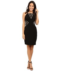 Aidan Mattox Stretch Jersey Halter Cocktail Dress W Nude Illusion Cut Out Detail Black Women's Dress