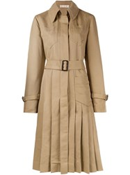 Marni Pleated Trench Coat Nude And Neutrals