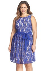 Plus Size Women's Gabby Skye Belted Lace Fit And Flare Dress