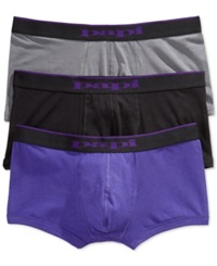 Papi Men's 3 Pack Brazilian Boxer Briefs Black Char Purple