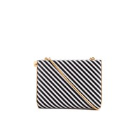 Lulu Guinness Women's Karlie Leather Striped Clutch With Lip Closure Black White