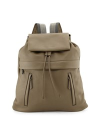 Bicolor Monili Strap Leather Backpack Dark Gray Brunello Cucinelli