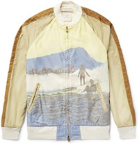 Remi Relief Reief Printed Cotton Bomber Jacket Tan