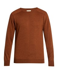 Oliver Spencer Blade Crew Neck Wool Sweater Brown