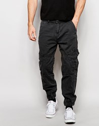 True Religion Slim Tapered Cargo Trousers With Pocket Detailing Washed Black