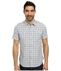 Dkny Short Sleeve Cotton Linen Check Shirt Casual Wash Prsian Blue Men's Short Sleeve Button Up