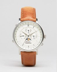 Vivienne Westwood Portland Leather Watch In Brown Vv164sltn Tan