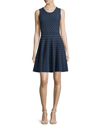 Milly Dot Print Fit And Flare Dress Navy Ivory Women's Size M