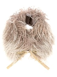 Hemisphere Shearling Tie Collar Nude And Neutrals